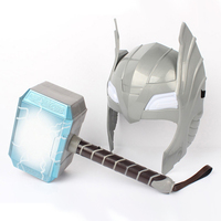 Thor S Hammer Action Figures Toys With Light And Sounds LED Helmet Mask Boys Heroes Weapon