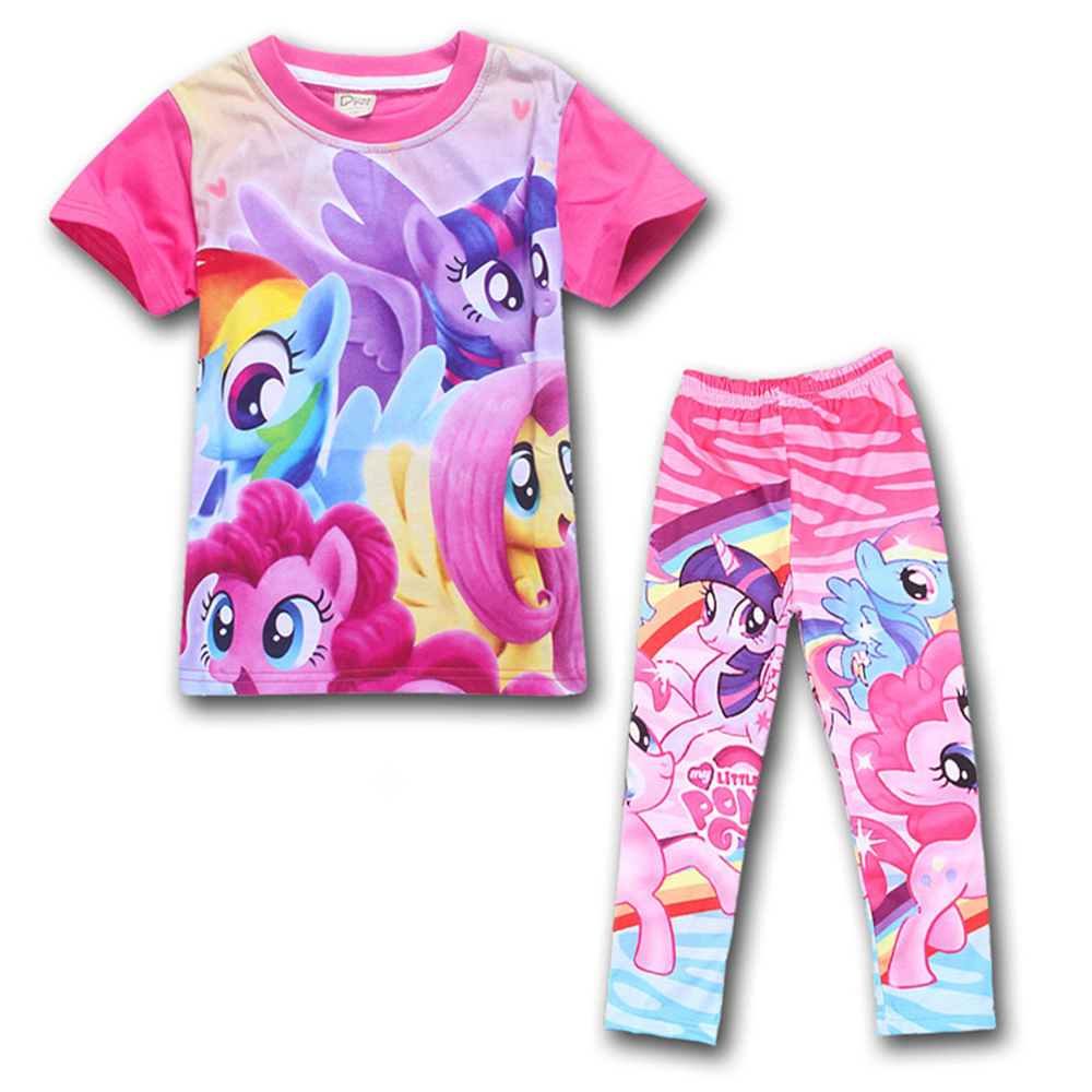 Desiger for Baby Clothes My Children Little Pony Short Sleeve T Shirt + Tight Pants Clothing Sets Kids Printed Costume for Child