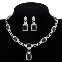 Fashion Luxury Blue Green White Zircon Necklace Earring Jewelry Set High Quality Party Wedding Jewelry For