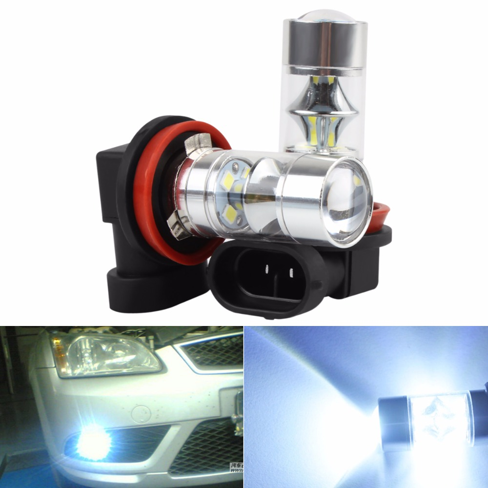 2Pcs Super White 750LM H8 H11 60W 12-SMD 2323 LED Car Fog Lights Driving DRL Bulbs