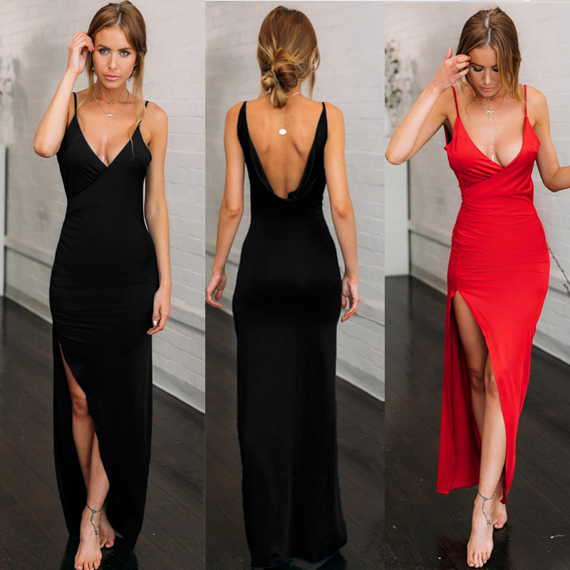 Elegant Women's Summer Dress 2020 V Neck Backless Robe Club Sexy Long Dress Ladies Slim Party Spaghetti Strap Maxi Dresses Femme