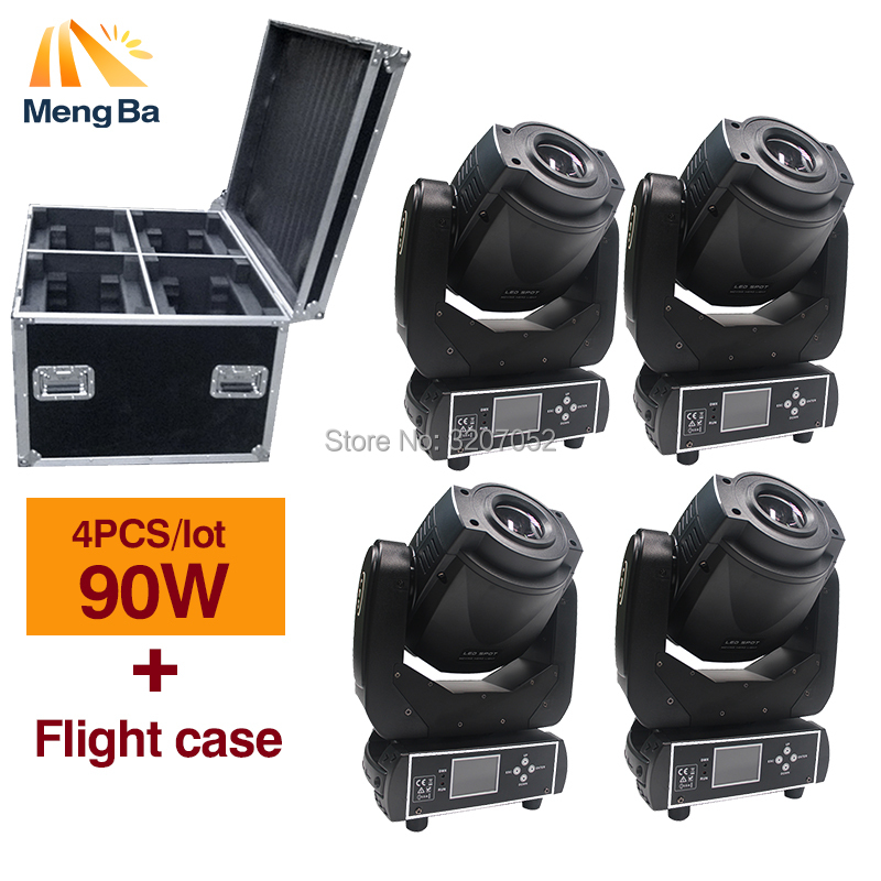 4in1 90W Gobo LED+Flight case high power Moving Head Light 3 facet prism for Stage wedding Disco Nightclub Party stage lighting 4in1 roadcase pack 90w led moving head light chinese led stage lighting 1 color wheel 2 gobo wheel disco night club ktv theater