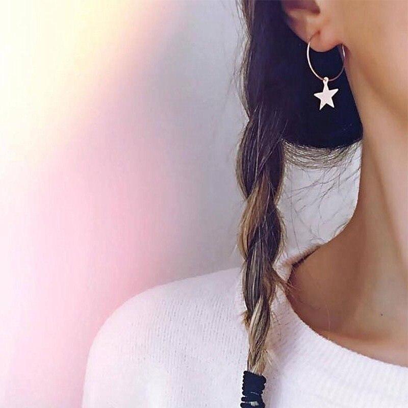 Minimalist Small Pentagram Hoop Earrings Gold Star Pendant Earrings Women Fashion Jewelry Brincos Boucle D'oreille Pendientes