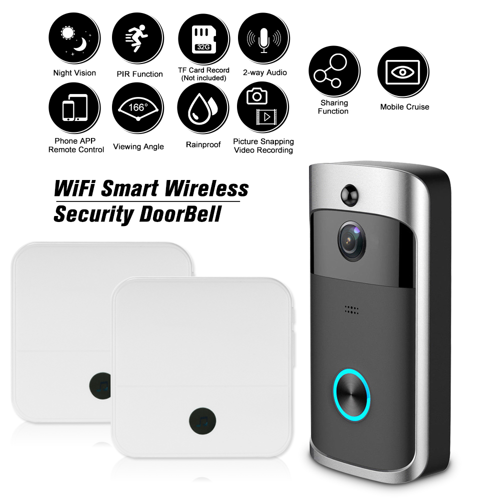 1080p Video Door Phone Wifi Smart Wireless Security Doorbell Smart Visual Intercom Recording Remote Home Monitoring Night Vision Invigorating Blood Circulation And Stopping Pains