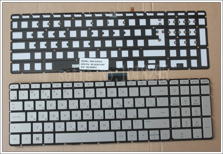 New Russian Laptop keyboard For HP Pavilion 15-ab 15-ab000 15-ab100 15-ab200 15z-ab100 noframe Silver RU Backlit keyboard