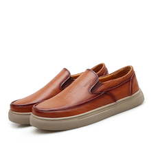 Men Genuine Leather Shoes Handmade Italian Retro Shoes Loafers Male Deodorant Moccasins Masculino Men's Flats Breathable Insole недорого