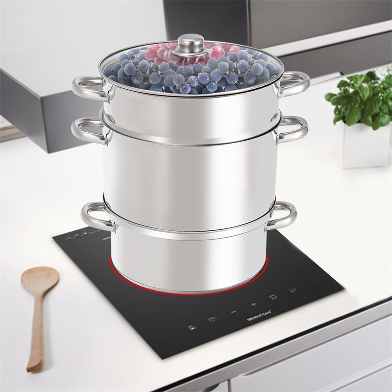 Batterie de cuisine de Pot de vapeur de presse-fruits d'acier inoxydable de 11 pintes pour la gamme de gaz ou électrique KC46721
