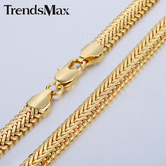 205d7a7d104e Trendsmax 9mmX63cm Snake Herringbone Foxtail Yellow Rose Gold Filled  Necklace Unisex Womens Girls Boys Mens Chain