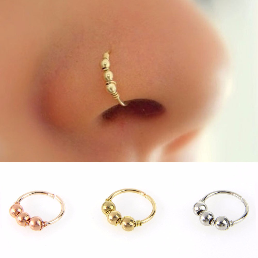 1ps Fashion Copper Nose Bar Mix 8 Color Captive Bead Ring Hoop Nose Ring  Clip Piercing