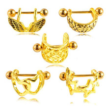 2pcs new stainless steel nipple piercing rings for women gold color Heart nipple piercing bar stud women body piercing jewelry