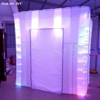 2.4 m x 2.4 m x 2.4 m led photo canopy inflatable photo booth with biggest Inner Space and removable door curtain