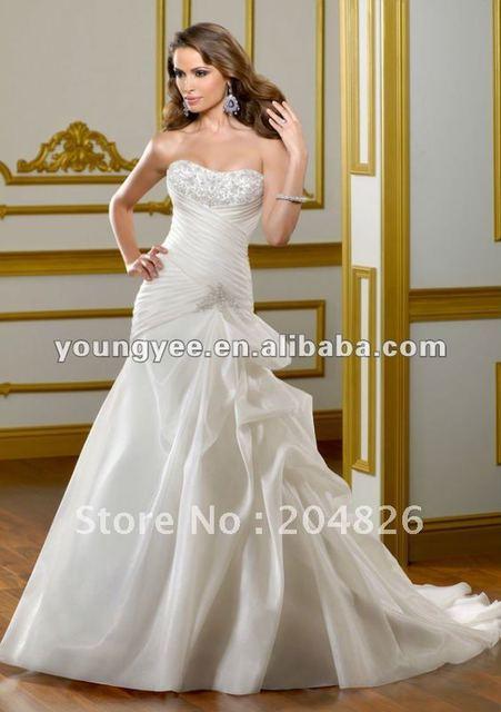 2012 New dream off shoulder sweetheart neckline satin and chiffon chapel bridal dress