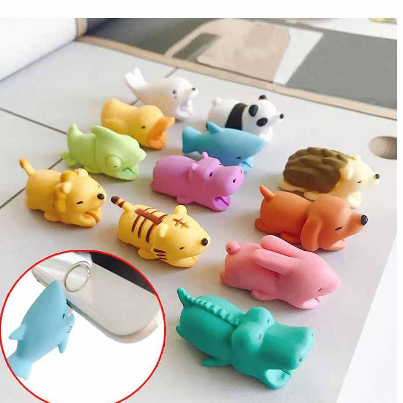 Noctilucent Cable Animal Bite Protector for Iphone/ipad/ipod Cable Bite Biters USB Organizer Phone Accessory Cable Buddies 1pcs