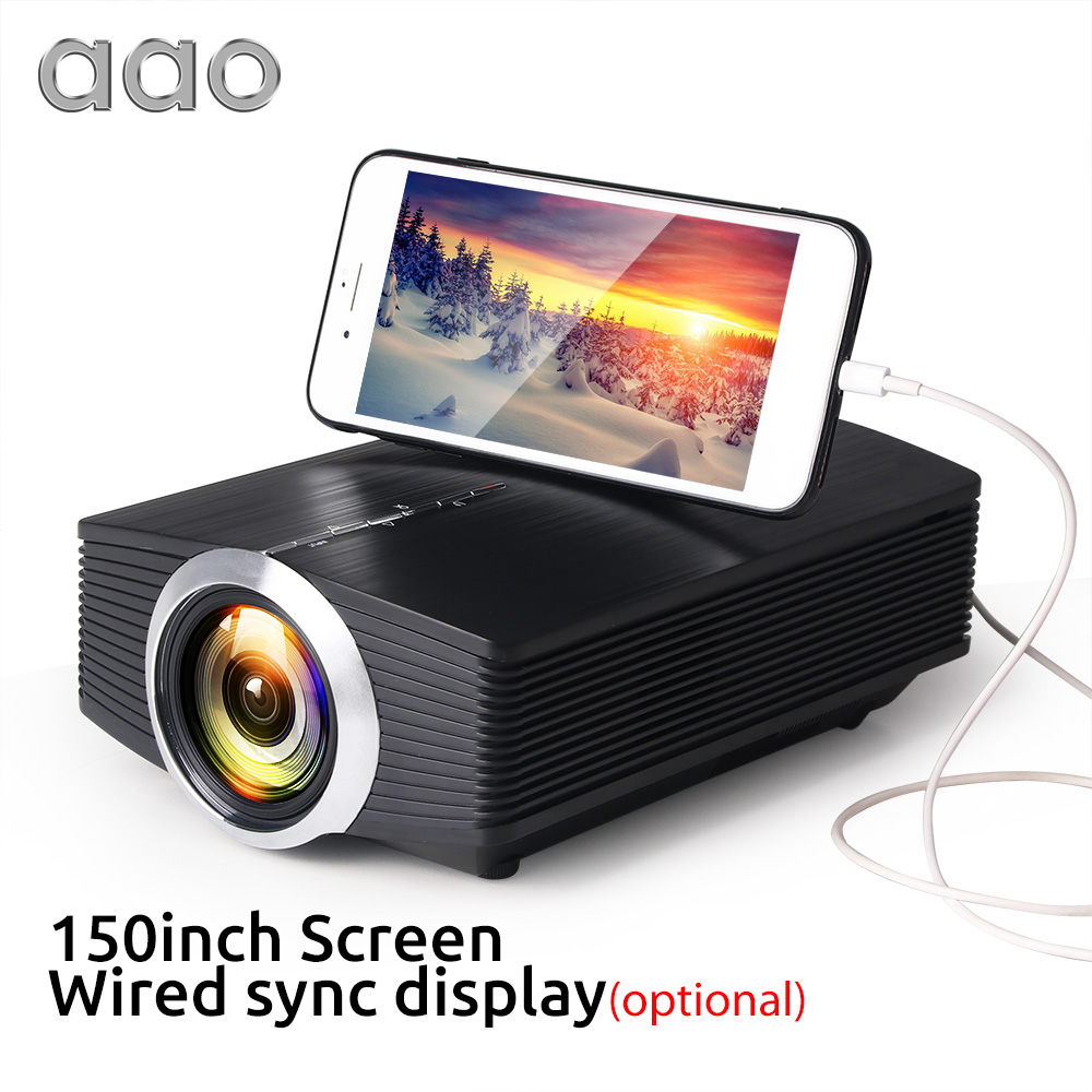 AAO YG500 Upgrade YG510 Mini Projector 1080P 1800Lumen Portable LCD LED Projector Home Cinema USB HDMI 3D Beamer Bass Speaker(China)