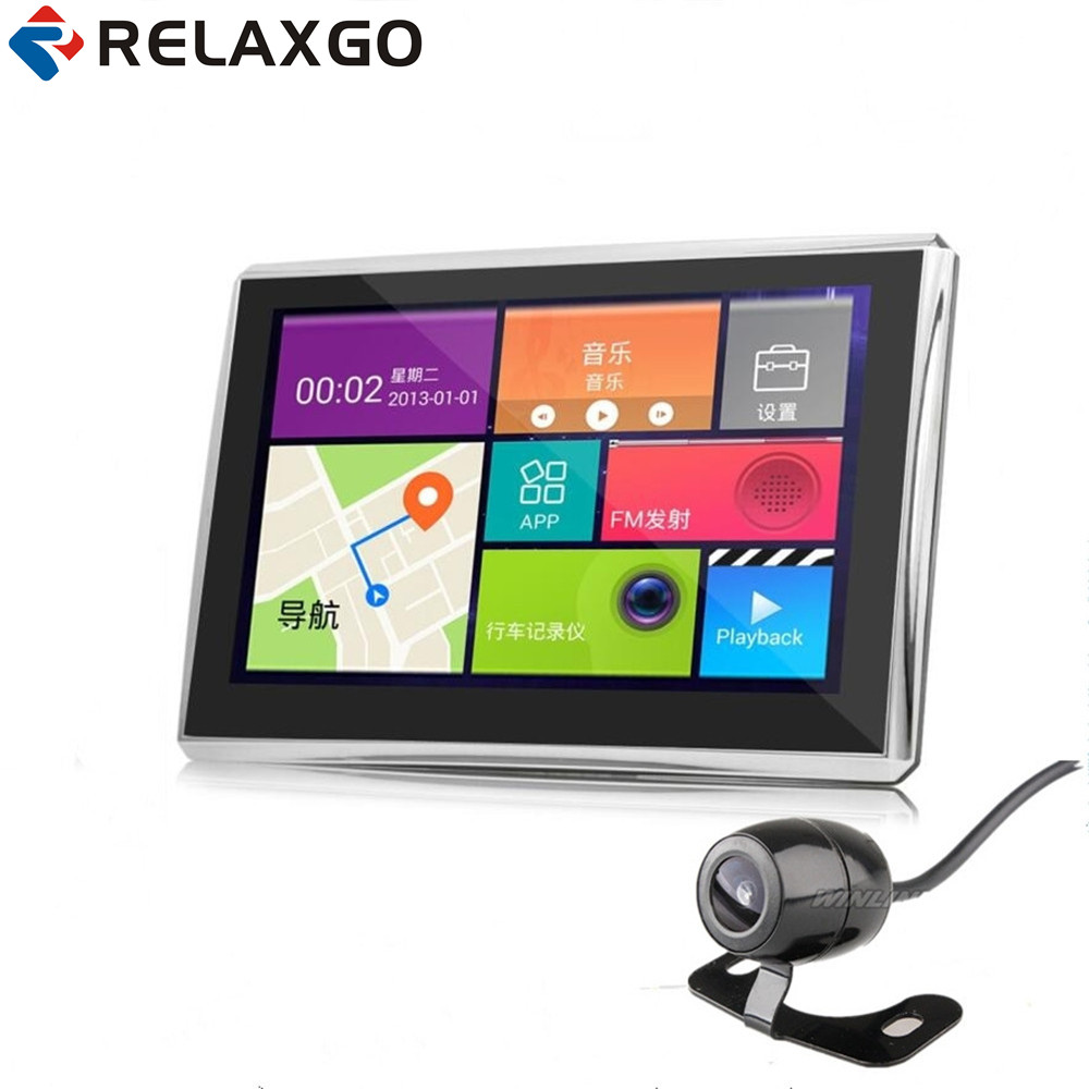 Relaxgo 7 Android Car GPS Navigation Wifi With Rearview Camera Parking 1080P Car Camera Video Recorder Automobile GPS Navigator relaxgo 5android rearview mirror car camera gps navigation wifi car video recorder dual lens 1080p vehicle dvr parking dash cam