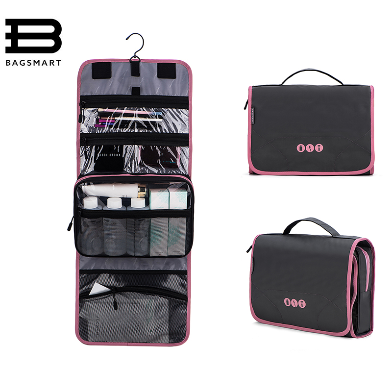 BAGSMART Hanging Toiletry Bag-Portable Travel Organizer Cosmetic Make up case for Women Men with Hanging Hook for vacation new travel men organizer cosmetic bags daily essential portable hook make up pouch brand multifunctional woman toiletry bag case