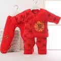 Китайский стиль Зима Новорожденный Одежда Набор 3 ШТ. Хлопок Мальчиков девушки новый год Одежда подарок для Ребенка Одежда Наборы