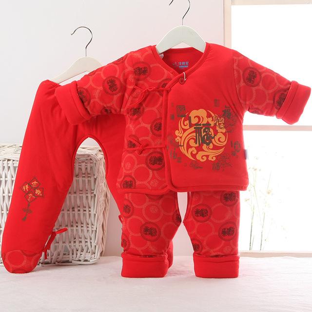 Estilo chino del Invierno Ropa de Bebé Recién Nacido Conjunto 3 UNIDS Algodón muchachas de Los Bebés Ropa del año nuevo regalo Del Bebé Sistemas de la Ropa