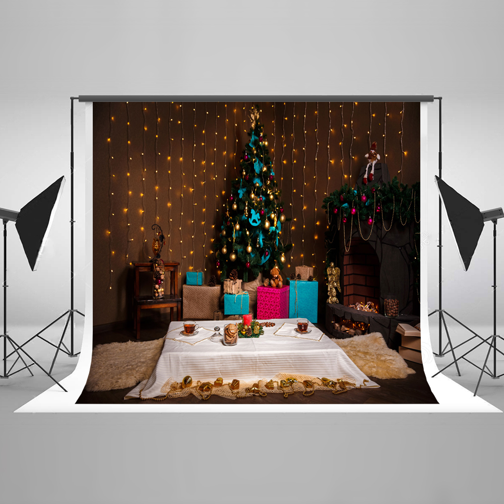 Kate 10x10ft Christmas Photography Backgrounds Indoor Christmas Decorations For Home Tree Washable Photo Shoot Backdrop