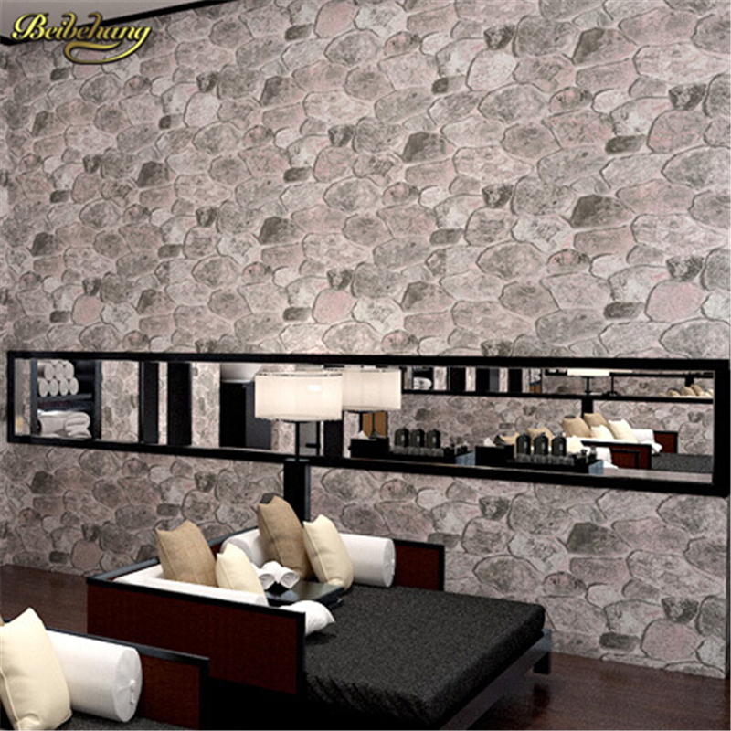 beibehang Pvc wallpaper stone wood pattern wall paper roll modern simple wallcovering for KTV papel de parede listrado wallpape modern vintage pvc 3d stone brick printing style vinyl waterproof pattern wallpaper wall paper roll papel de parede 10m