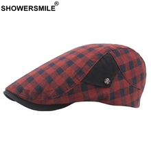 SHOWERSMILE Red Plaid Berets For Women Cotton Breathable Ivy Duckbill Hat Men New Summer Adjustable Vintage British Flat Cap