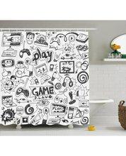 CHARM HOME Video Games Shower Curtain Black White Print