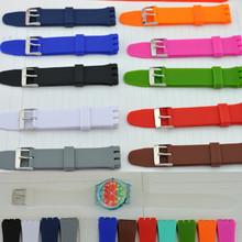 High Quality Black Blue Green 12mm 17mm 19mm Silicone Rubber Watchband For Swatch Colorful Rubber strap Stainless Steel Buckle