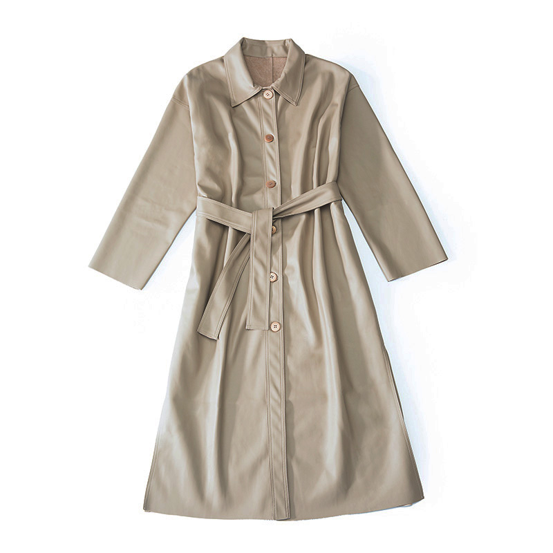 Gabardina de cuero larga KELIFAN para mujer 2018 otoño nueva versión coreana de Hong Kong viento chic abrigo largo - 5