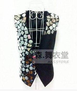 S-5xl Free Shipping 2020 Dj Men's Fashion New Vest Male Singer Ds Mirror Irregular Suit Vest Men Costumes Clothing