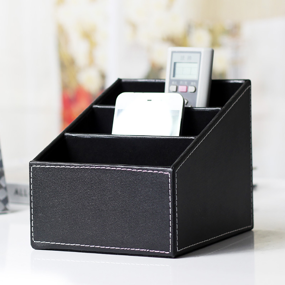 Storage Box Bedroom living room Leather Phone/TV Remote ...