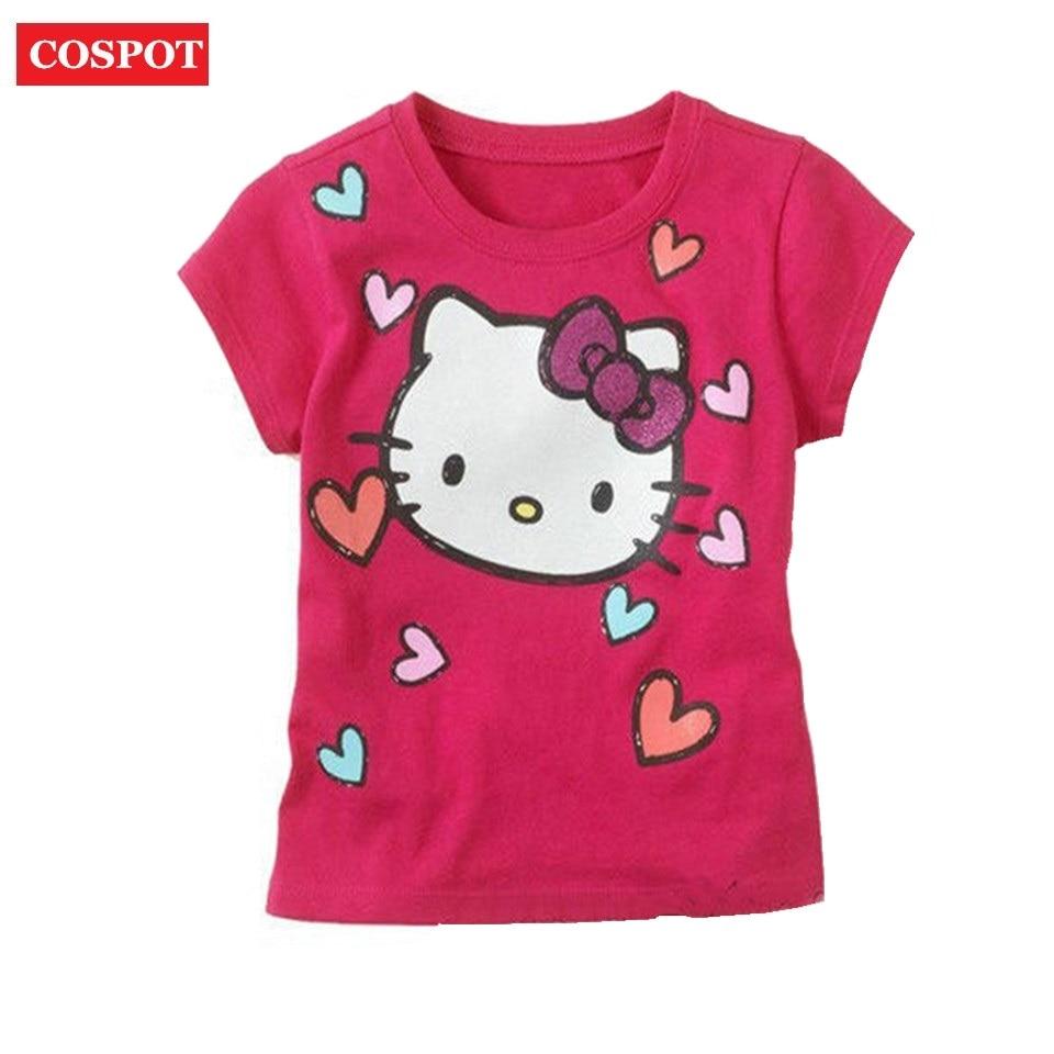COSPOT Baby Girl Summer Short T Shirt Girl's Cotton Summer T Shirt Kids Cute T-Shirt Retail New 2018 Arrival 5 футболка для девочки t shirt 2015 t t 2 6 girl t shirt