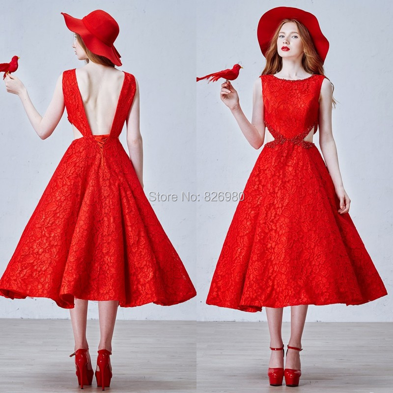 Online Get Cheap Tea Length Prom Dresses Vintage Red -Aliexpress ...
