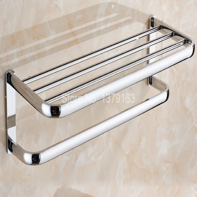 Bathroom Accessory Polished Chrome Wall Mounted Bathroom Large Towel Rail  Holder Storage Rack Shelf Bar Aba831
