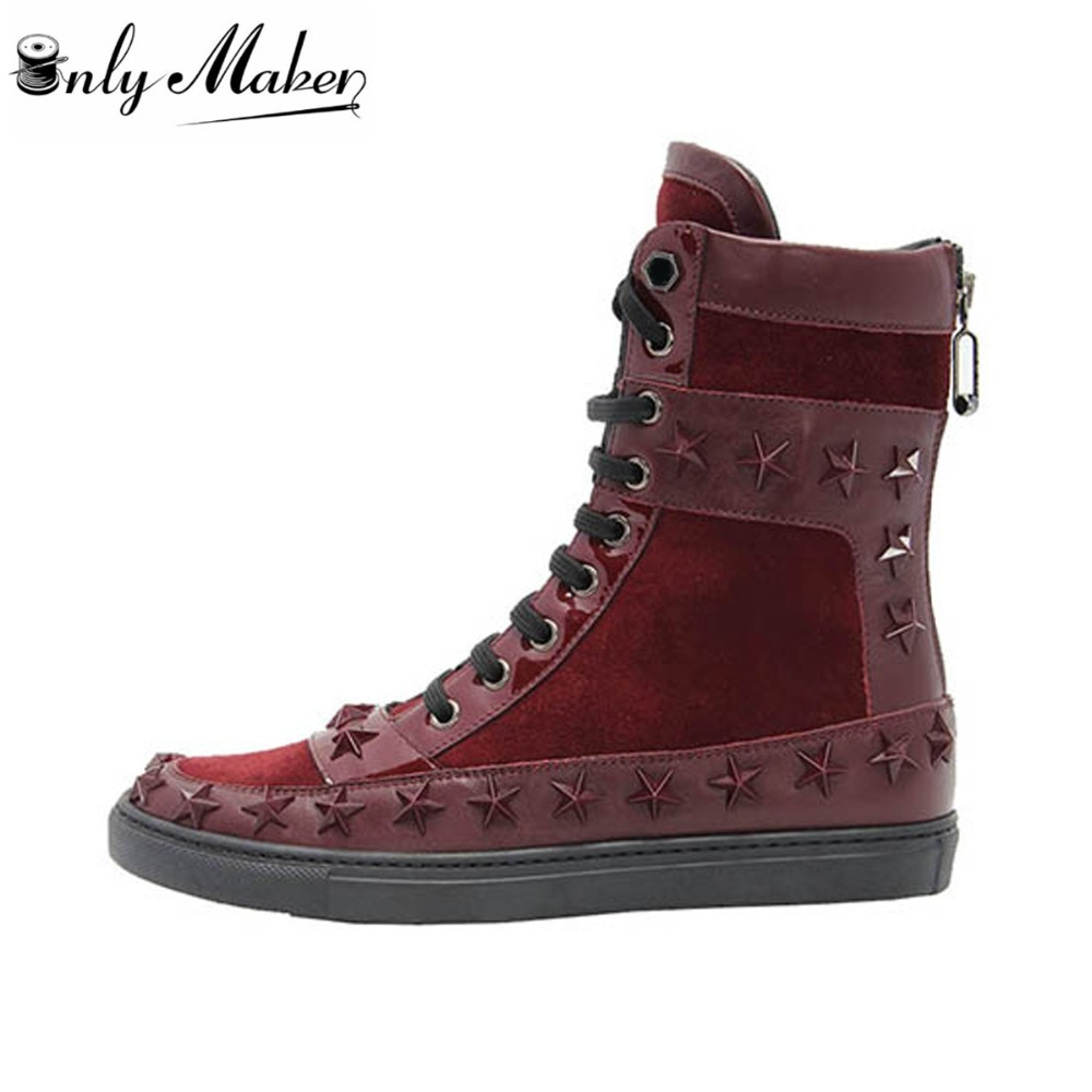 Onlymaker 2017 New Fashion Autumn Winter Womens Snow Ankle Classic boots Shoes Ladies Lace Up Martin Boots US Size 5~15