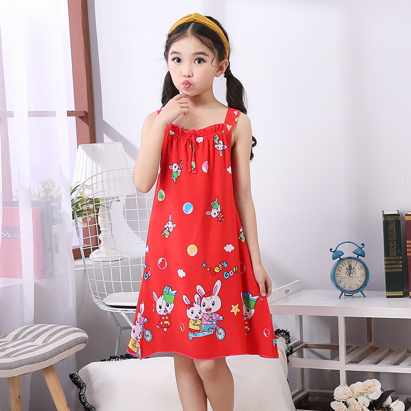 New Sleepwear Shirt Summer Dresses Girls Pajamas Cute Sling Nightgown Kids Outwear Dress Girl Sleepwear Kids Nightgown