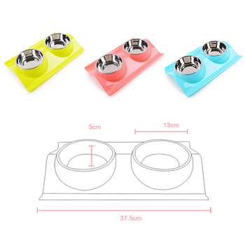 DODOPET Pet Dog Bowl Puppy Cat Bowl Water Food Storage Feeder Non-toxic PP Resin Stainless Steel Combo Rice Basin 3 Colors 1