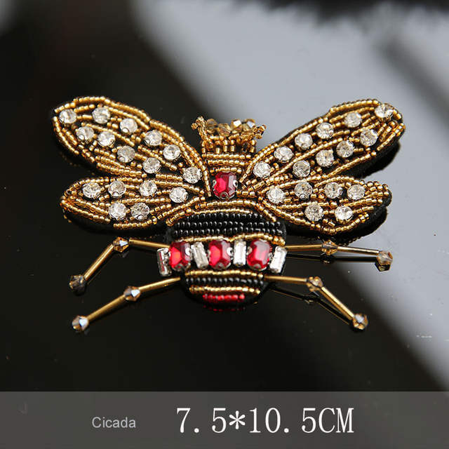 3D Handmade beaded snake cicada Patches for clothing DIY sew on sequin rhinestone  parches Beaded applique d5f6b5070ff3