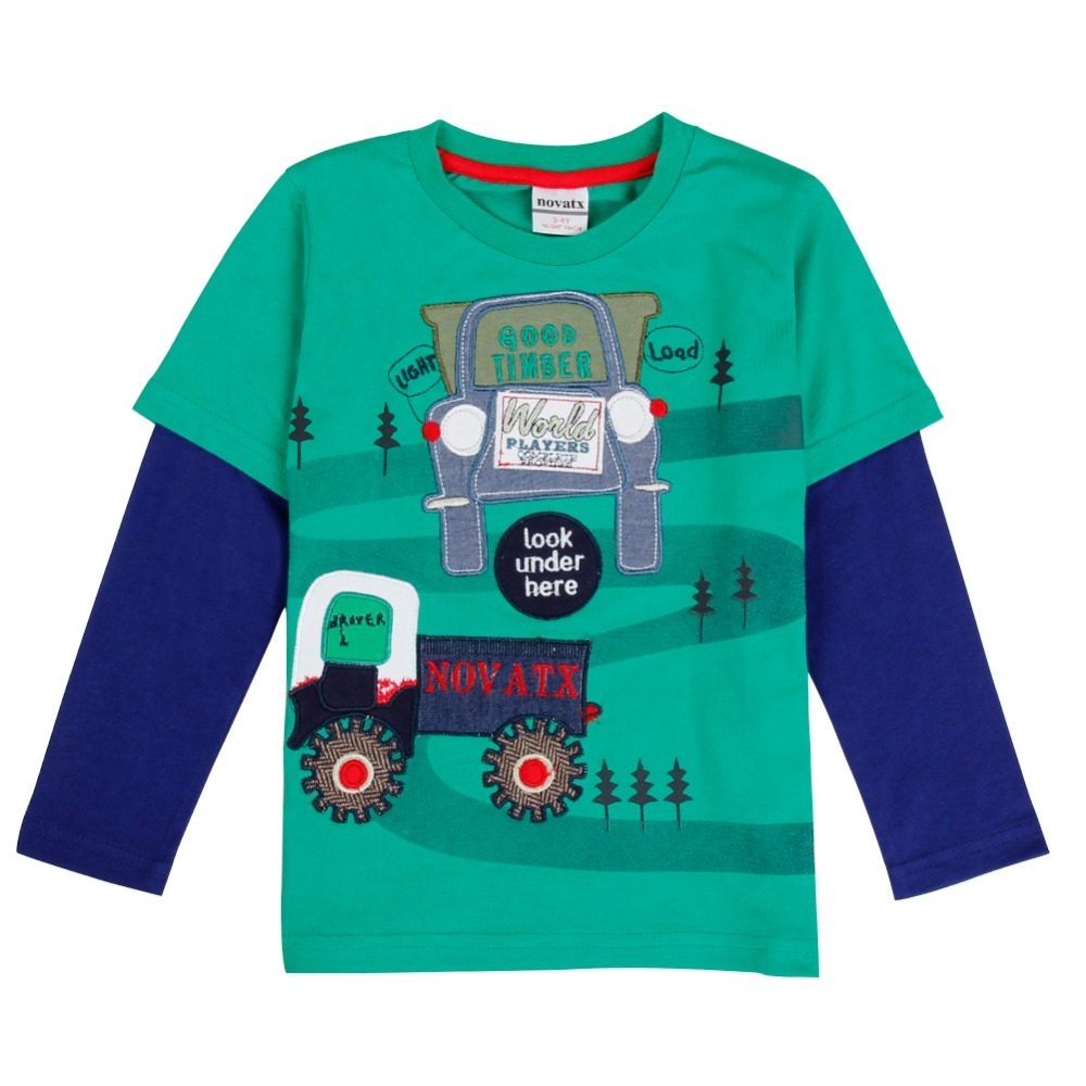 Design t shirt embroidery - Aliexpress Com Buy Nova Kids Wear T Shirt Retail 2016 New Design Tracktor Pattern Embroidery Autumn Green Long Sleeve For 2 6y Baby Boys From Reliable