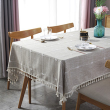 Brown Jacquard Plaid Table Cloth Tassel Multifunction Nordic Dining Tablecloth Rectangluar Hotel Cover Tischdecke Nappe