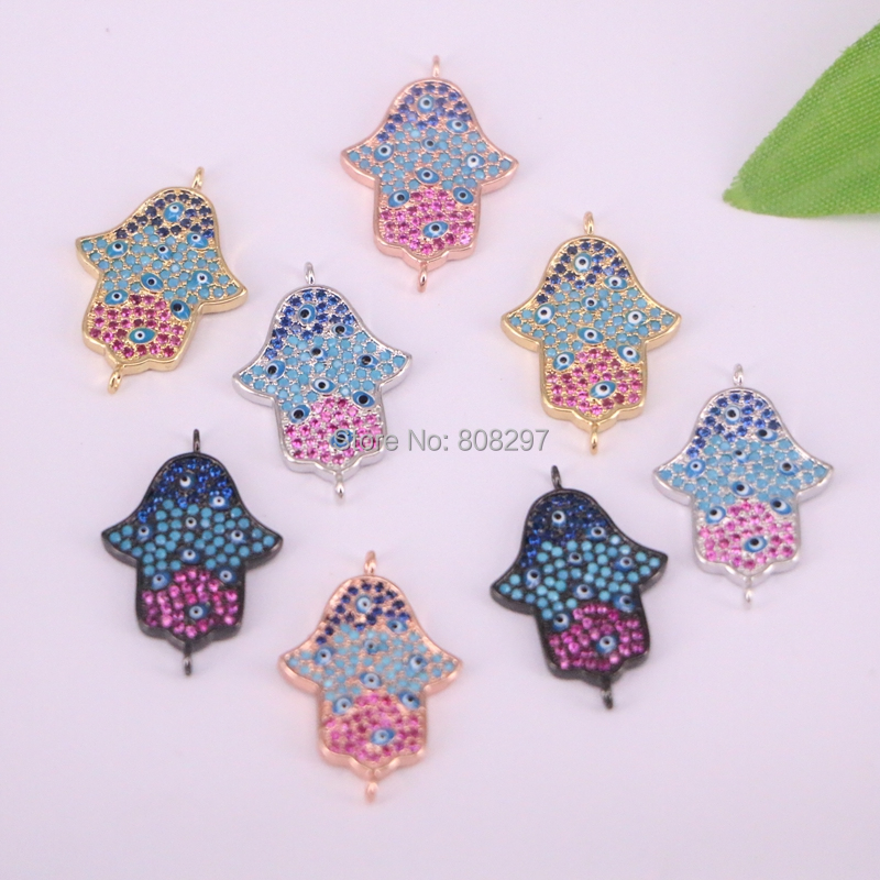 New~ 10Pcs 4 Colors Micro pave Cubic Zirconia Hamsa Hand Connector Bead DIY Jewelry Making-in Beads from Jewelry & Accessories    3