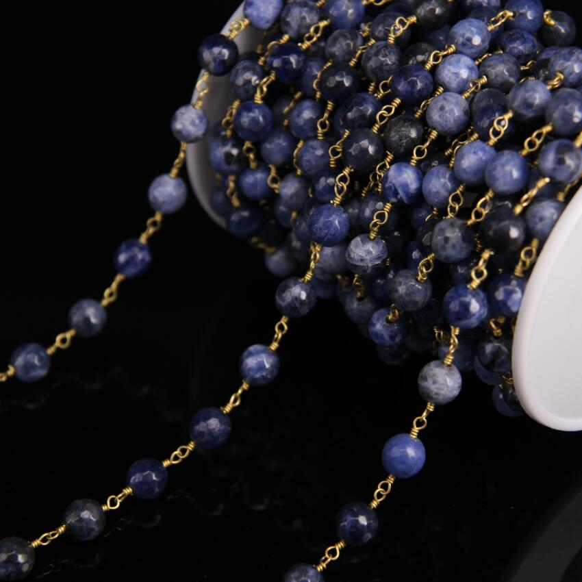 Chaîne de chapelet Sodalite bleue à facettes rondes de 8mm, chaîne en laiton avec lien en pierre naturelle, bijoux de Bracelet de collier de mode