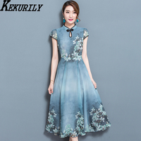 KEKURILY rendent la robe robe noel élégant vintage mousseline de soie parti robes plus la taille grand 3xl femelle rétro Chinois style vêtements