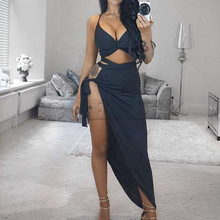 Cuerly New Women 2 Piece Set Dress Deep V Neck Crop Top and Bottom High Waist Side Open Daily Sexy Party Night Club Dresses стоимость