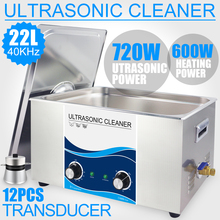 22L Ultrasound Cleaner Heater 720W Power 40KHZ Ultrasonic Bath Remove Oil Stains Industrial Lab Instruments Car Piston Cleaner