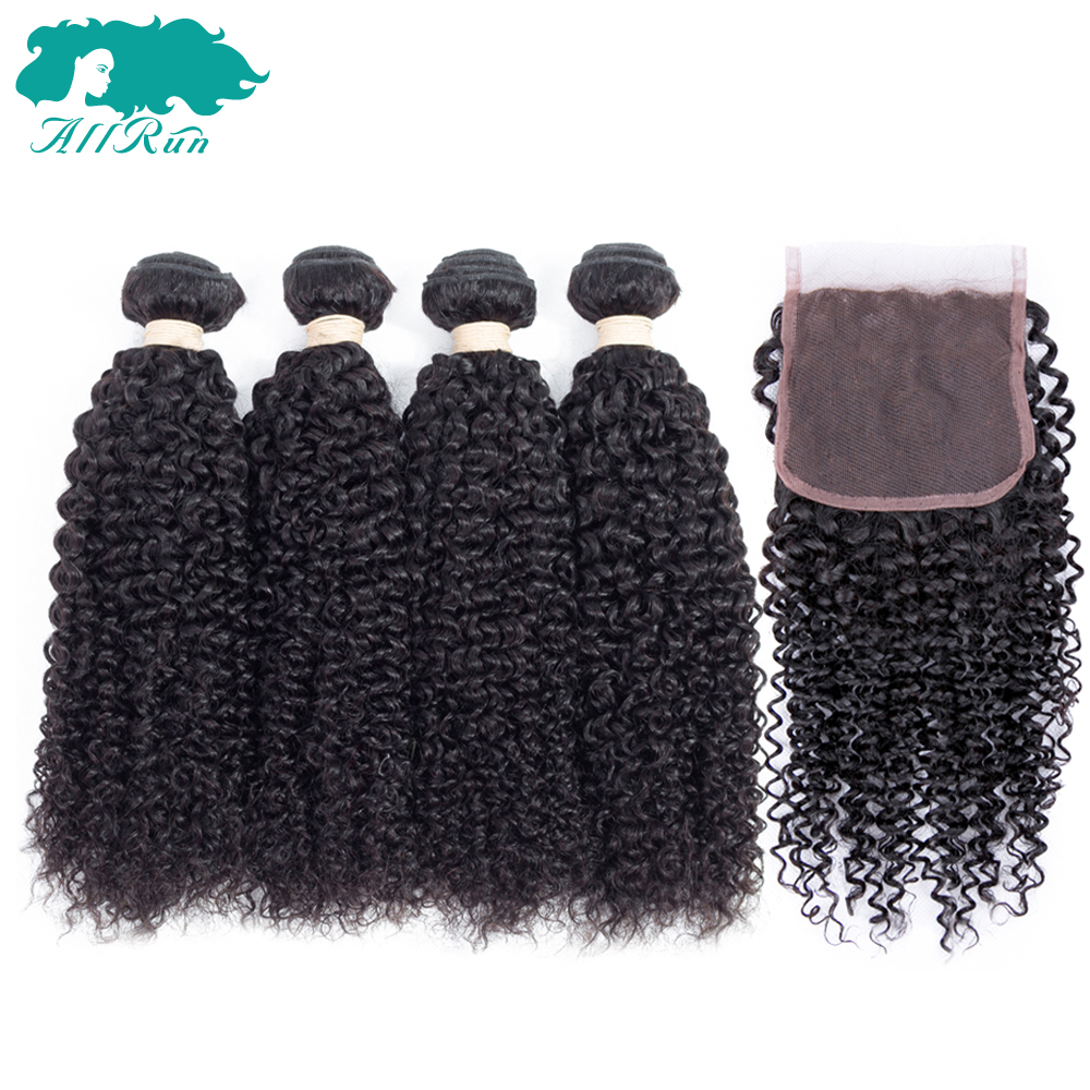 Allrun Kinky Curly Hair 4 Bundles With Closure Free Part Brazilian Human Hair Natural Black Human Hair Bundles With Closure