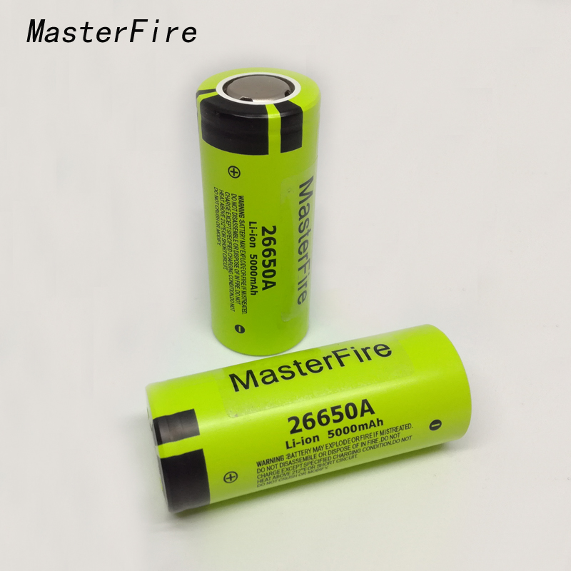 MasterFire 100% Original For <font><b>Panasonic</b></font> 3.7V 26650A <font><b>26650</b></font> 5000mAh Max 10A Discharge Lithium Battery Rechargeable Batteries image