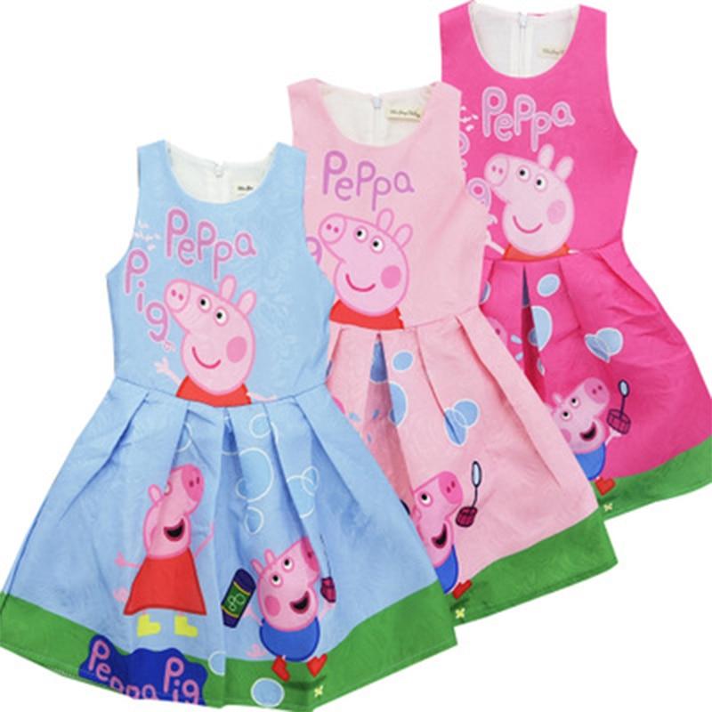 2018 Cute Baby Girl Dress Summer Cartoon Pink Pig Dresses for Girls Clothes Kids Children Birthday wedding princess Party summer 2017 princess baby girl clothes for children and infants 3 7 girls dress for party and wedding dark purple kids dresses