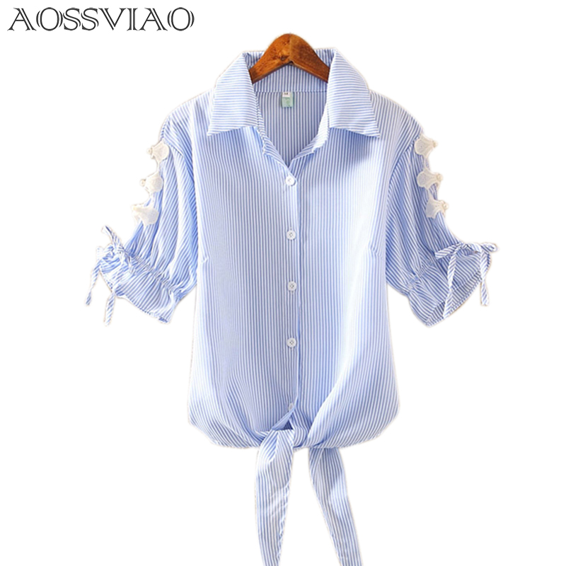 AOSSVIAO 2018 Summer   Blouse     Shirt   Striped Blue Short Sleeve Women Casual Tops Collar Female Clothing Lady   Shirts   Pink Black
