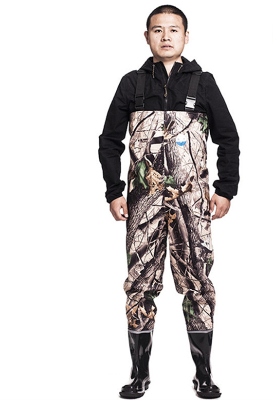 Outdoor breathable chest long 3-layer nylon camo wading pants waterproof men women fishing waders boots shoes jumpsuit trousers drawstring spliced camo jogger pants