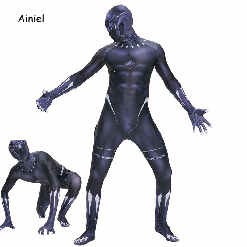 Ainiel Black Panther Cosplay Costume Captain Avengers Infinity War Black Jumpsuit Superhero Zentai Bodaysuit Halloween Suit